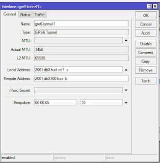 Mikrotik IPv6 GRE tunnel